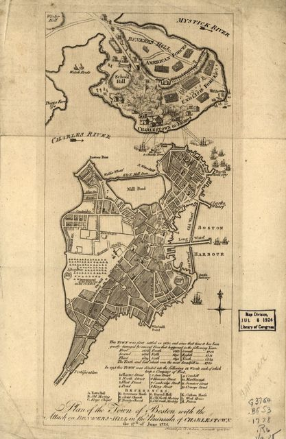 Plan of the town with the attack on Bunkers-Hill in the peninsula of Charlestown, the 17th. of June 1775.