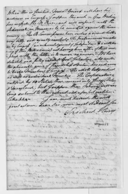 Richard Henry Lee to Thomas Jefferson, July 20, 1778, French Fleet under Count D'Estaing Arrives; Conrad Alexander Gerard