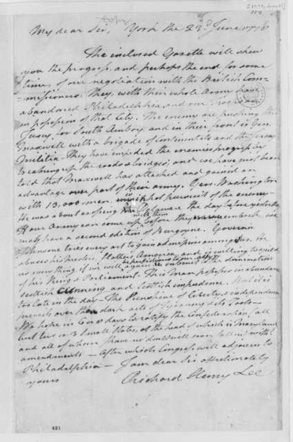 Richard Henry Lee to Thomas Jefferson, June 23, 1778, British Commissioners; Continental Army Takes Philadelphia