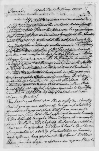 Richard Henry Lee to Thomas Jefferson, May 11, 1778, Ratification and Publication of Treaties of Commerce and Alliance Between France and United States, etc.