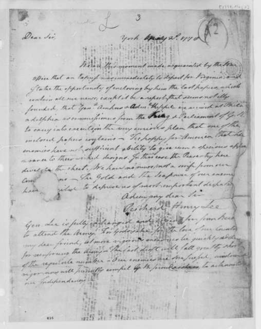 Richard Henry Lee to Thomas Jefferson, May 2, 1778, Lord Amherst and Admiral Augustus Keppel Purported Commissioners Sent by Great Britain