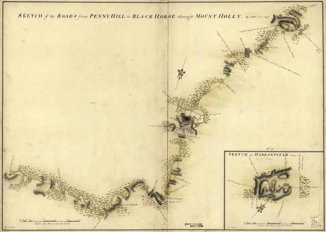 Sketch of Haddonfield, March 1778. Sketch of the roads from Pennyhill to Black Horse through Mount Holly.
