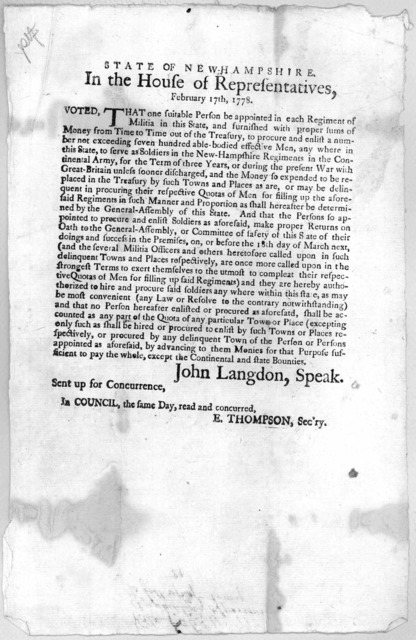 State of New Hampshire. In the House of representatives, February 17th, 1778. Voted, That one suitable person be appointed in each regiment of militia in this State, and furnished with proper sums of money from time to time out of the treasury .