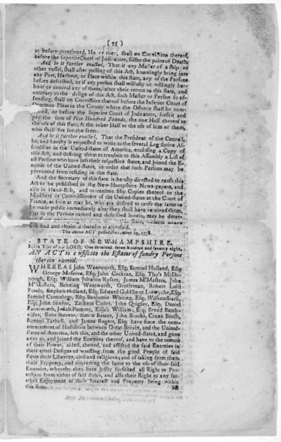 State of New-Hampshire. In the year of our Lord, one thousand, seven hundred and seventy-eight. An act to prevent the return to this State of certain persons therein named, and of others who have left, or shall leave this State, or either the Un