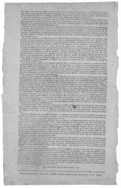 State of New-York, An act for completing the five continental battalions, raised under the direction of this state ... This act passed the 1st day of April, 1778. Poughkeepsie: Printed by John Holt, Printer to the State of New York [1778].