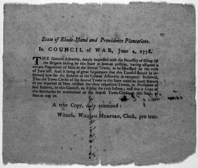 State of Rhode-Island and Providence plantations. In Council of war, June 4, 1778. The General Assembly, deeply impressed with the necessity of filling up the brigade raising by this state as soon as possible ... [Providence: Printed by John Car