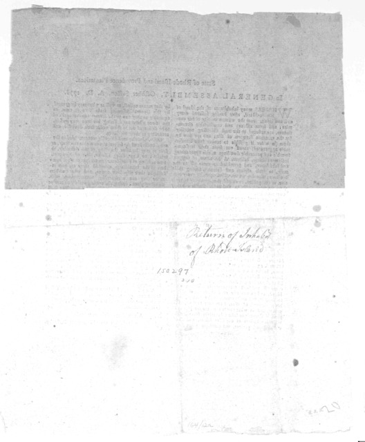 State of Rhode-Island and Providence plantations. In General Assembly, October session, A. D. 1778. Whereas many inhabitants of the island of Rhode-Island, after having suffered every evil and insult, from the wanton cruelty of our enemies; and