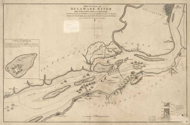 The course of Delaware River from Philadelphia to Chester, exhibiting the several works erected by the rebels to defend its passage, with the attacks made upon them by His Majesty's land & sea forces.