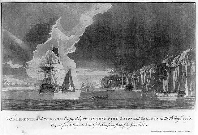 The Phoenix and the Rose engaged by the enemy's fire ships and galleys on the 16 Augst. 1776 / engrav'd from the original picture by S. Serres from a sketch of Sir James Wallace's.