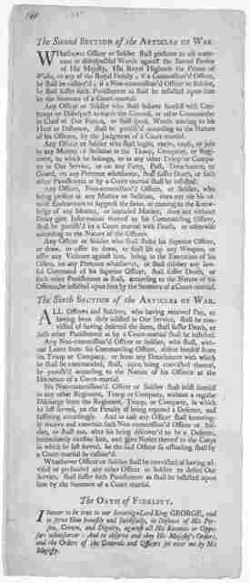The second section of the Articles of war. [also] The sixth section of the articles of war. The oath of fidelity. [New York: Printed by James Rivington, 1778].