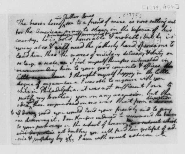 Thomas Jefferson Strother Jones, April 1778, Draft of Letter of Introduction for Strother Jones