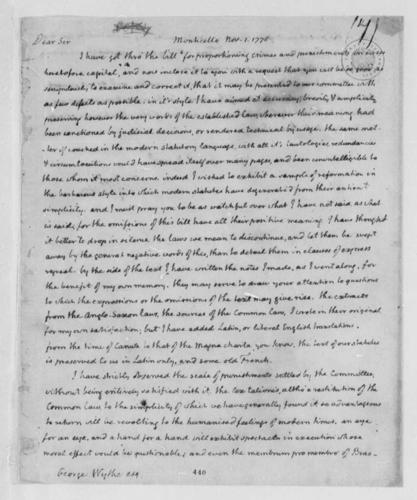 Thomas Jefferson to George Wythe, November 1, 1778, Bill for Proportioning Crime and Punishment