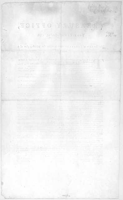 Treasury office, York-Town April 15, 1778. The Board of Treasury agree to report the following plan of a new board ... [n. p. 1778].