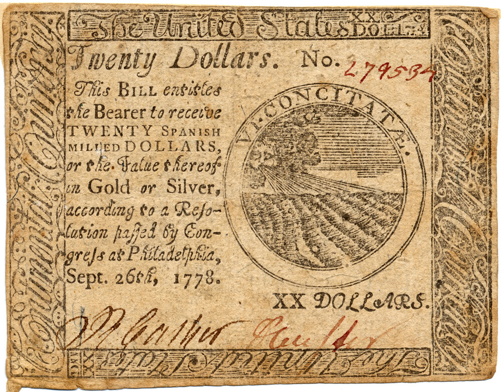 Twenty dollars. This bill entitles the bearer to receive twenty Spanish milled dollars or the value thereof in gold or silver, according to a resolution passed by congress at Philadelphia, Sept. 26th, 1778