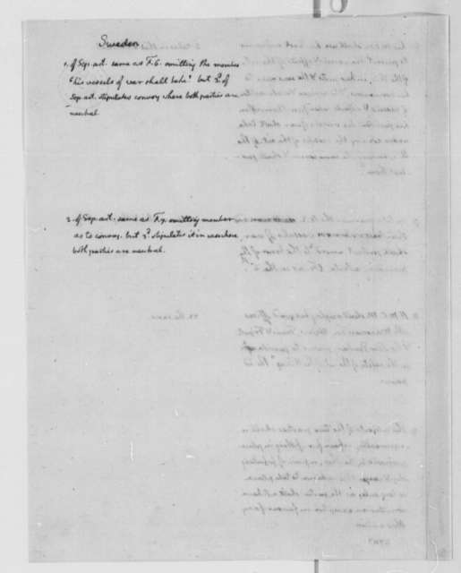 United States Congress Plan for Foreign Treaties, 1778-83, Commerce and Peace Treaty Between United States and France, Holland, and Sweden; Fishing Rights