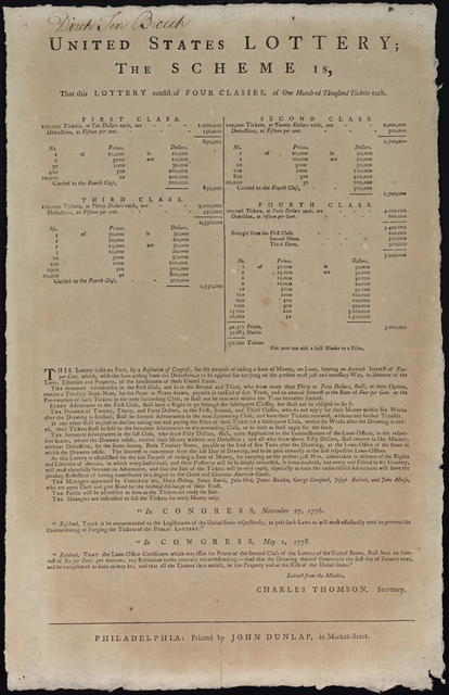 United States lottery : the scheme is, that this lottery consist of four classes, of one hundred thousand tickets each. ...