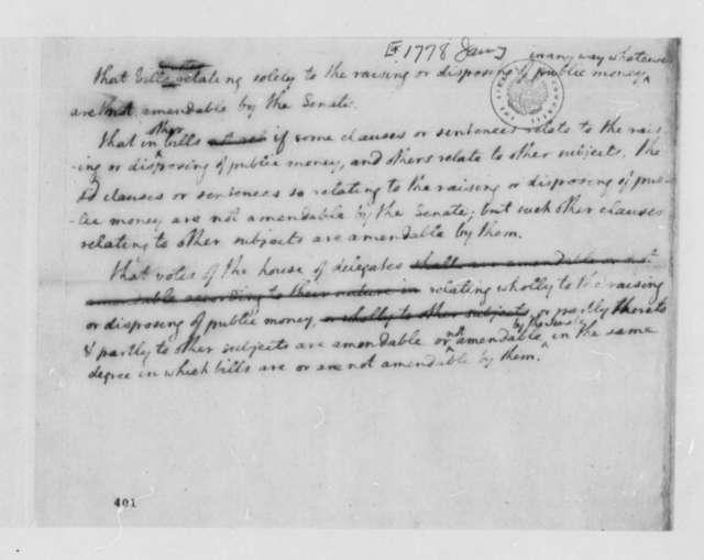 Virginia House of Delegates, January 1778, Draft of Resolution on Money Bills