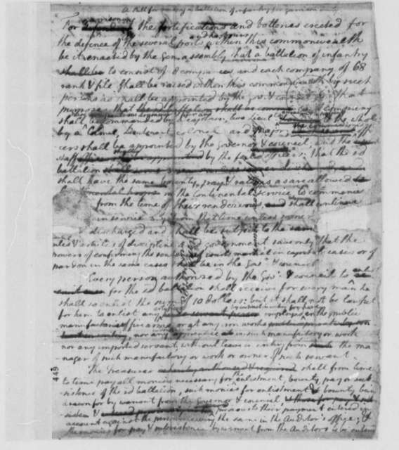 Virginia Militia, 1778, Bill for Making a Battalion of Infantry for Garrison Duty