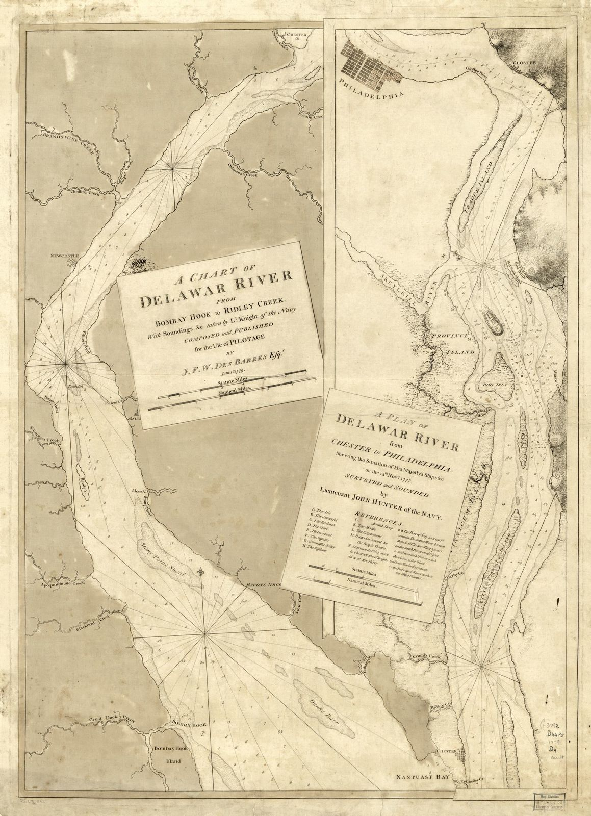 A chart of Delawar River from Bombay Hook to Ridley Creek, with soundings &c taken by Lt. Knight of the Navy.