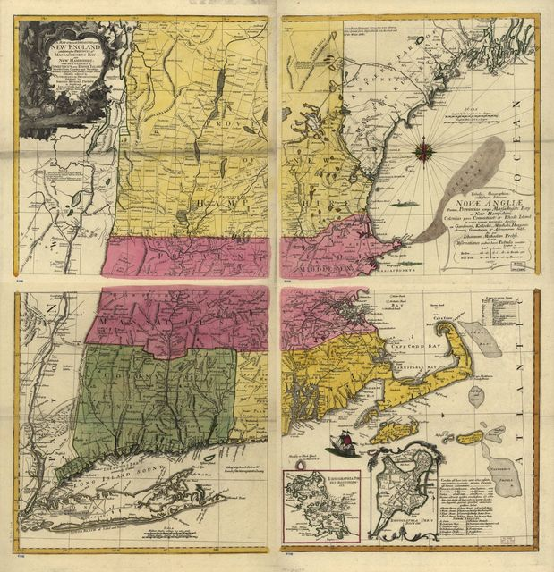 A map of the most inhabited part of New England, containing the provinces of Massachusets Bay and New Hampshire, with the colonies of Conecticut and Rhode Island, divided into counties and townships; the whole composed from actual surveys and its situation adjusted by astronomical observations. Tabula geographica cultissimam delineans Novæ Angliæ partem, provincias nempe Massachusets Bay et New Hampshire colonias porro Connecticut et Rhode Island