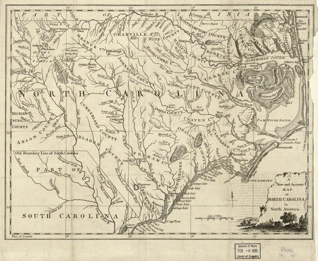 A new and accurate map of North Carolina in North America.
