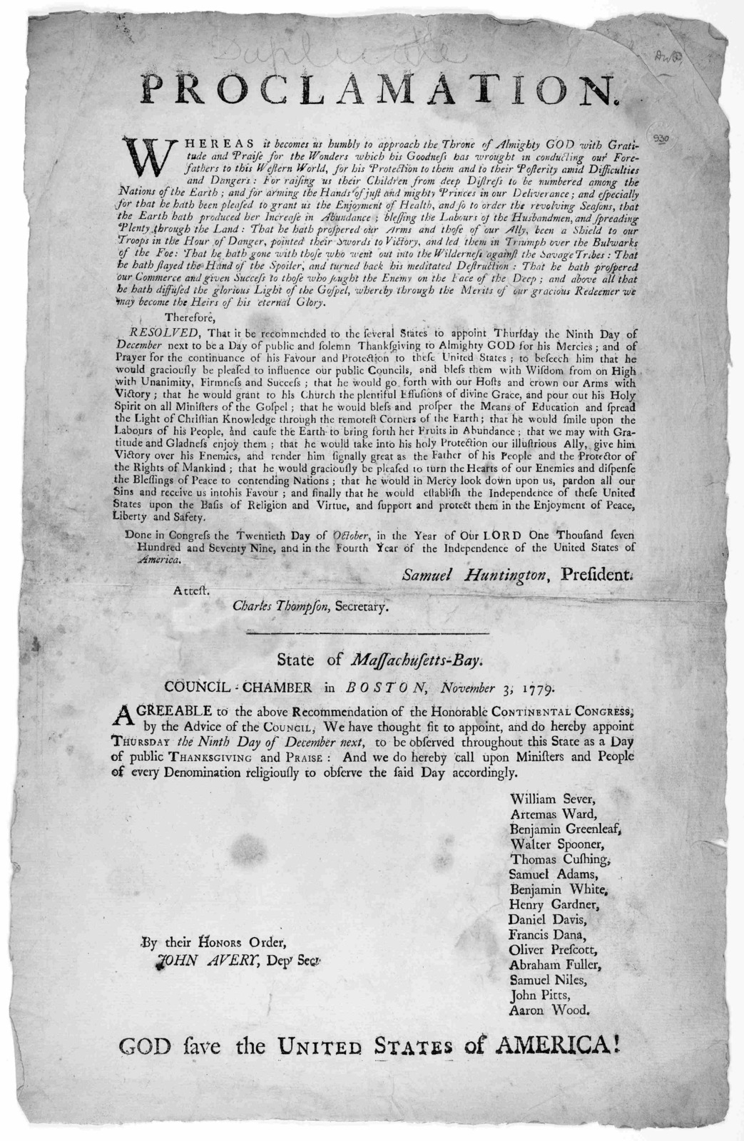 A proclamation Whereas it becomes us humbly to approach the throne of Almighty God with gratitude and praise for the wonders which his goodness has wrought in conducting our forefathers to this western world ... [Boston: Printed by Benjamin Edes