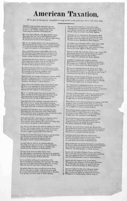 American taxation, or The spirit of seventy-six exemplified in a song written in the golden days which tried men's souls. [Connecticut, 1779?].
