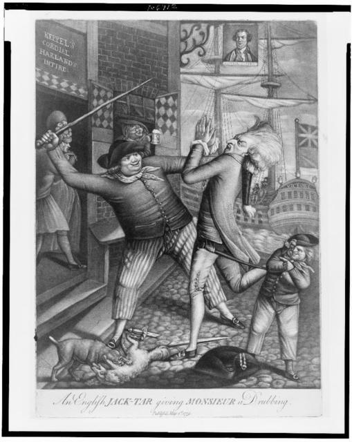 An English jack-tar giving monsieur a drubbing