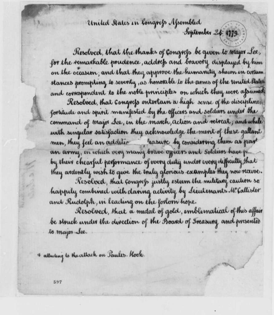 Continental Congress, September 24, 1779, Resolution Commending George Washington, Lord Sterling, Henry Lee, and others