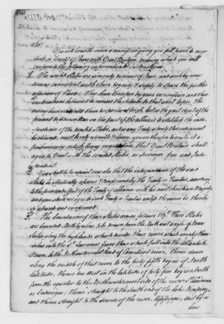 Continental Congress to American Peace Commissioners, August 14, 1779, Instructions on a Peace Treaty with Great Britain