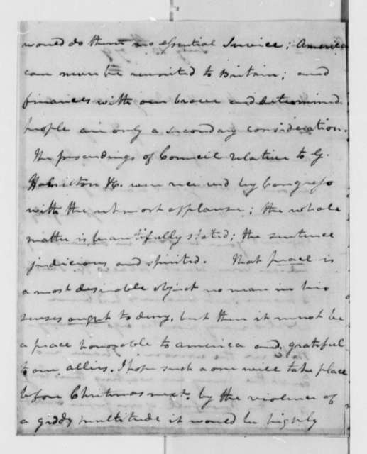 Cyrus Griffin to Thomas Jefferson, July 13, 1779, Finances; Paper Money; Peace Treaty