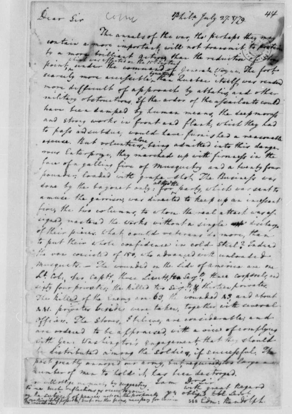 Edmund Randolph to Thomas Jefferson, July 27, 1779, Anthony Wayne's Capture of Stony Point on the Hudson River
