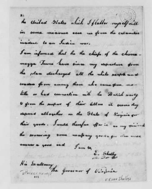 Evan Shelby to Patrick Henry, June 4, 1779, Indian Affairs; Cherokee Nation