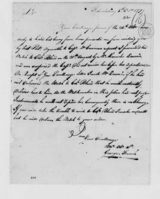 George French to Thomas Jefferson, October 5, 1779