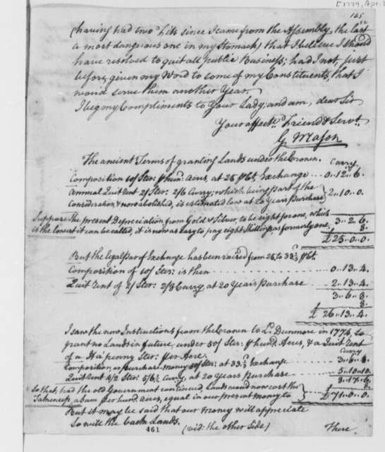 George Mason to Thomas Jefferson, April 3, 1779, Indiana Land Company; Indian Affairs; Land Office Bills; Table of Land Grant Prices