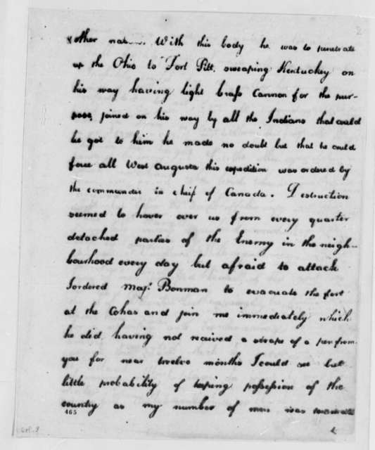 George Rogers Clark to Patrick Henry, April 29, 1779, Illinois Expedition; Capture of British Trading Post at Vincennes