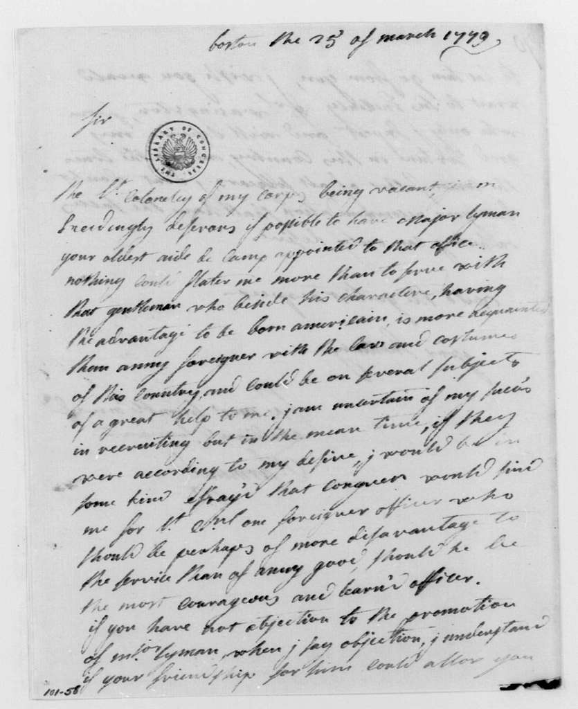 George Washington Papers, Series 4, General Correspondence: Charles Armand-Tuffin, Marquis de la Rouerie to William Heath, March 25, 1779
