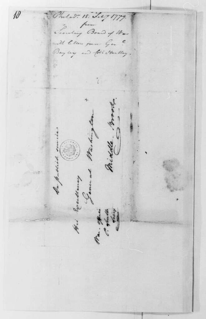 George Washington Papers, Series 4, General Correspondence: Continental Congress War Board to George Washington, February 15, 1779