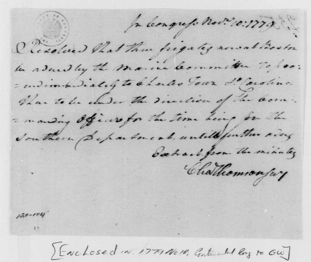 George Washington Papers, Series 4, General Correspondence: Continental Congress, November 10, 1779, Frigates