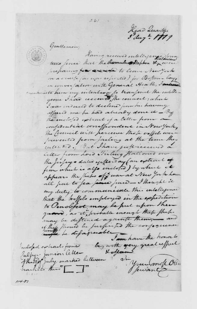 George Washington Papers, Series 4, General Correspondence: George Washington to Massachusetts Council, August 3, 1779