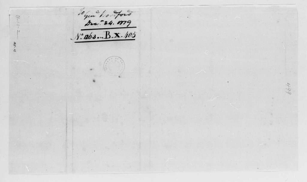 George Washington Papers, Series 4, General Correspondence: George Washington to William Woodford, December 24, 1779