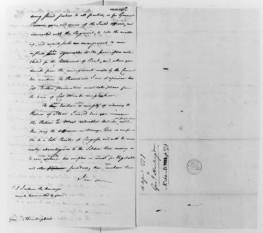 George Washington Papers, Series 4, General Correspondence: George Washington to Jedidiah Huntington, April 16, 1779