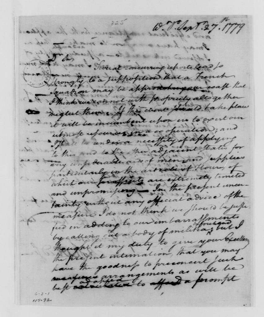 George Washington Papers, Series 4, General Correspondence: George Washington to George Clinton, William Livingston and Jonathan Trumbull, September 27, 1779