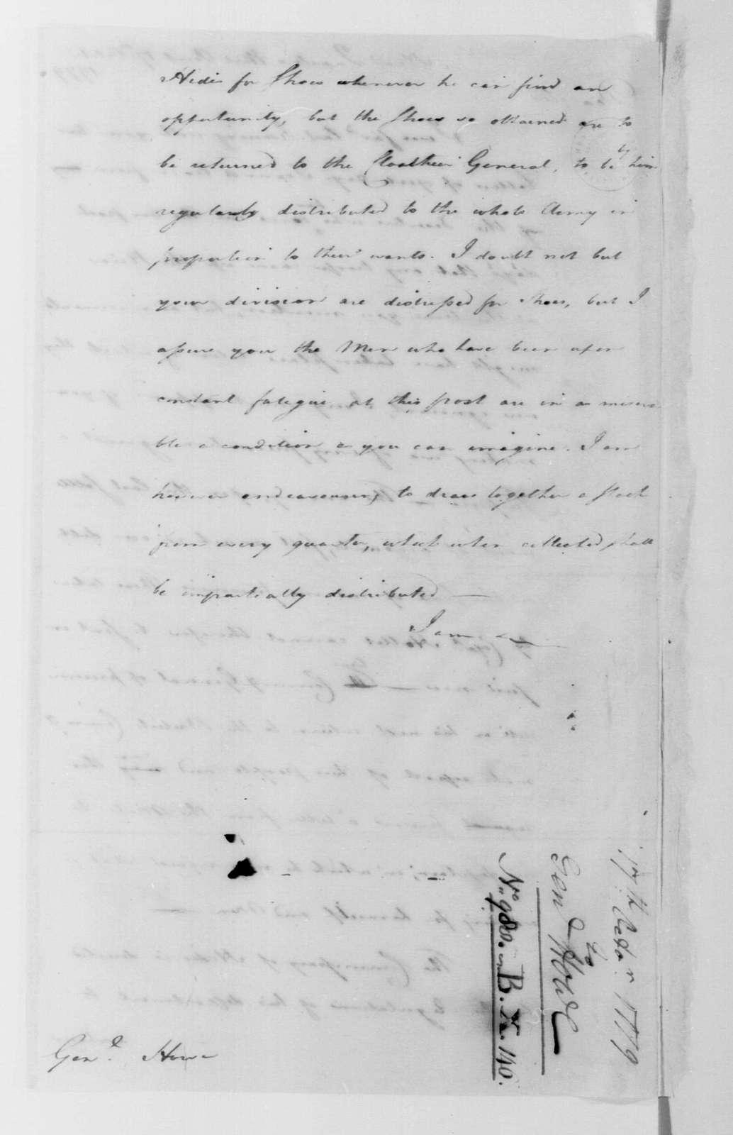 George Washington Papers, Series 4, General Correspondence: George Washington to Robert Howe, October 17, 1779, two same date