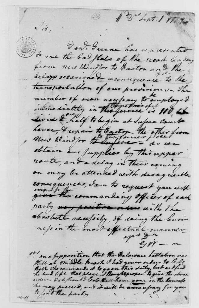 George Washington Papers, Series 4, General Correspondence: George Washington to William Alexander, Lord Stirling, September 1, 1779