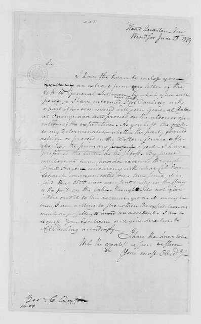 George Washington Papers, Series 4, General Correspondence: George Washington to George Clinton, June 28, 1779, two same date