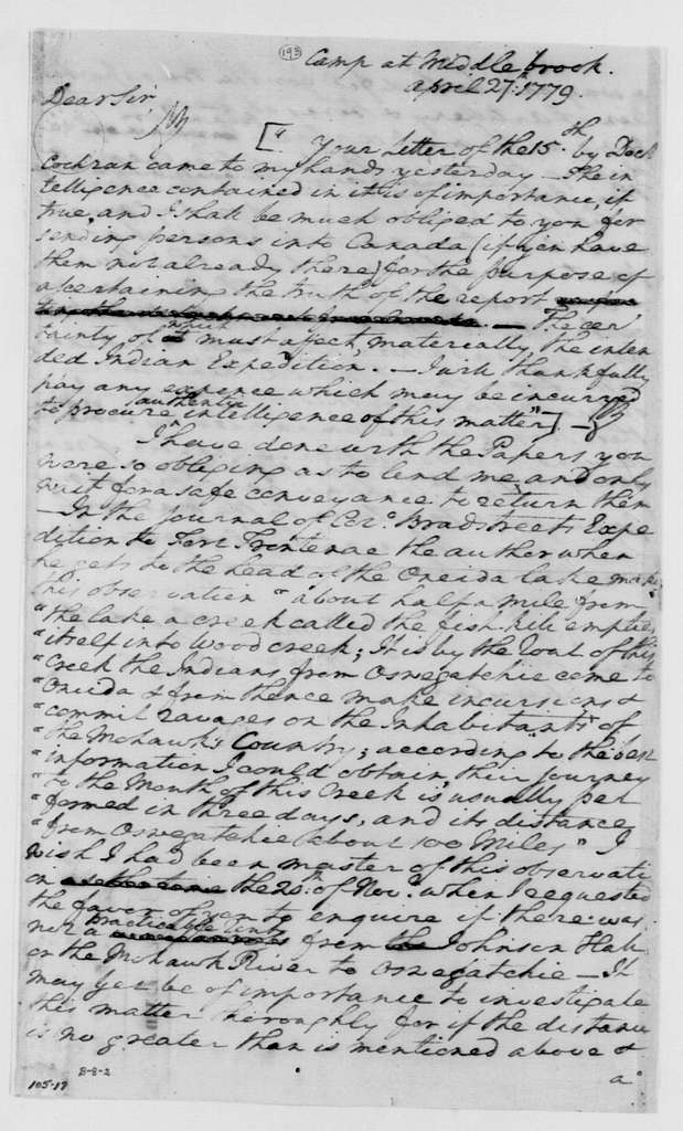 George Washington Papers, Series 4, General Correspondence: George Washington to Philip J. Schuyler, April 27, 1779