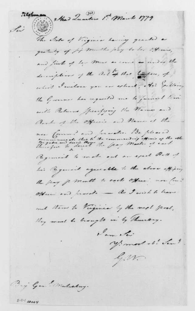 George Washington Papers, Series 4, General Correspondence: George Washington to Peter Muhlenberg, March 1, 1779