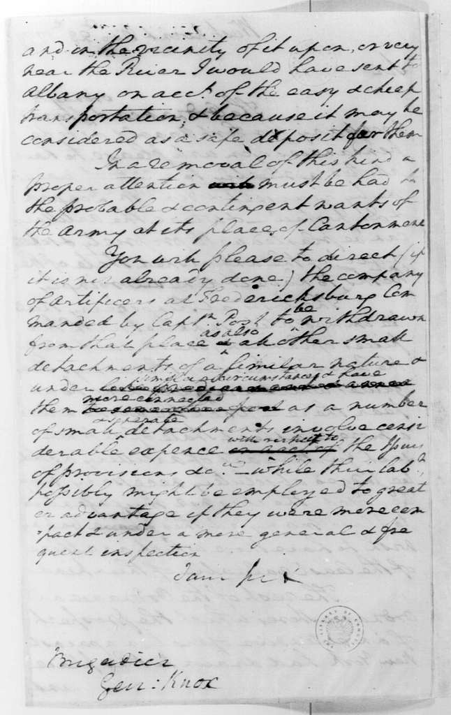 George Washington Papers, Series 4, General Correspondence: George Washington to Henry Knox, November 23, 1779