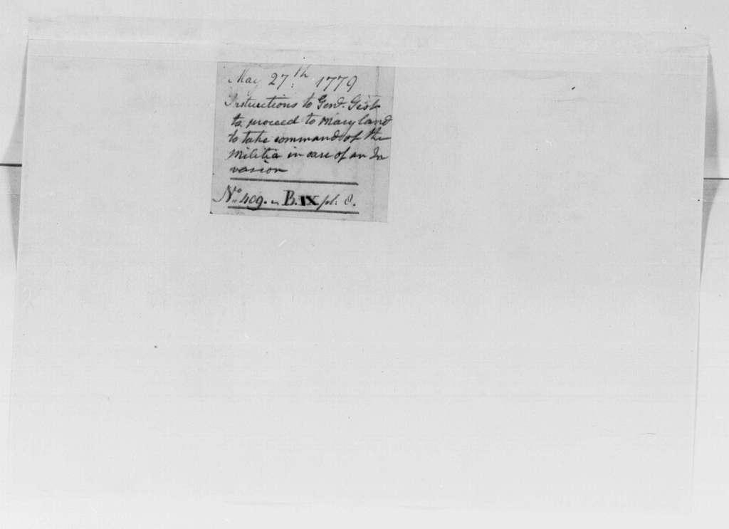 George Washington Papers, Series 4, General Correspondence: George Washington to Mordecai Gist, May 27, 1779